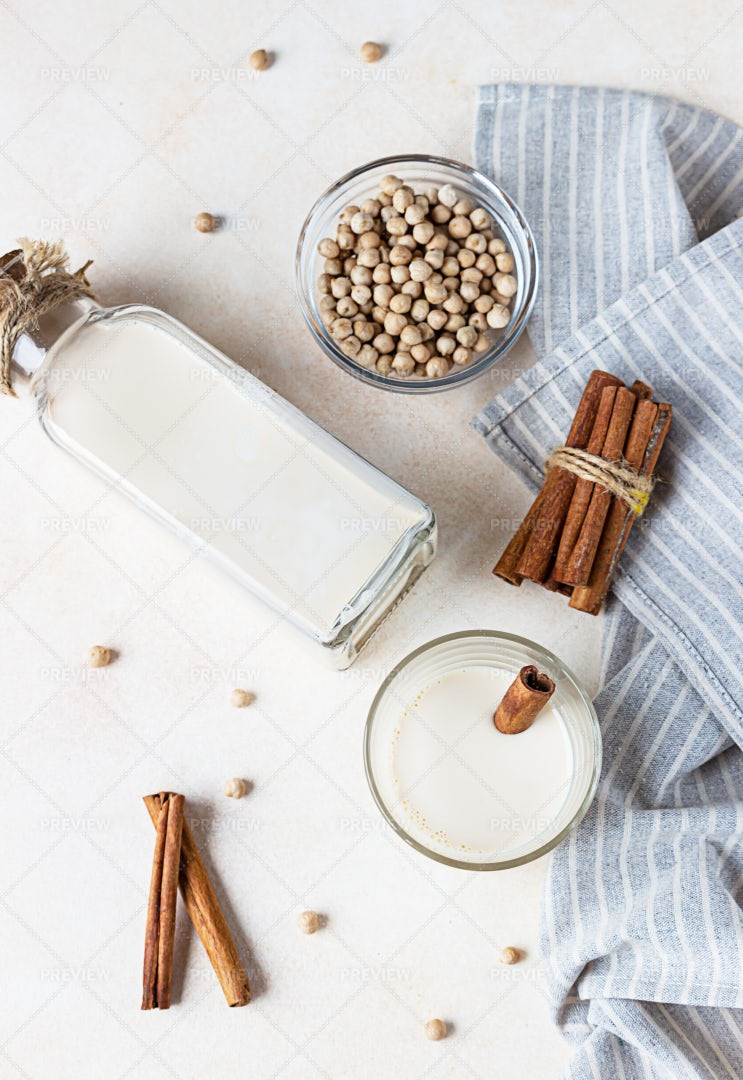 Chickpea Milk In A Bottle: Stock Photos