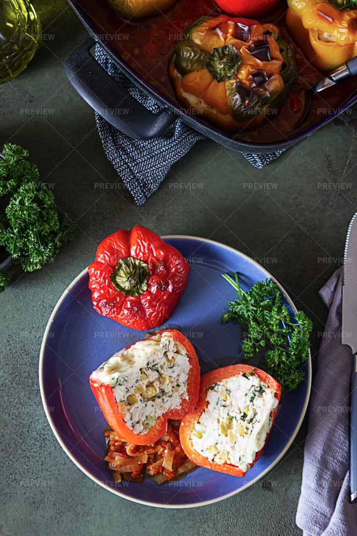 Stuffed Baked Bell Peppers: Stock Photos