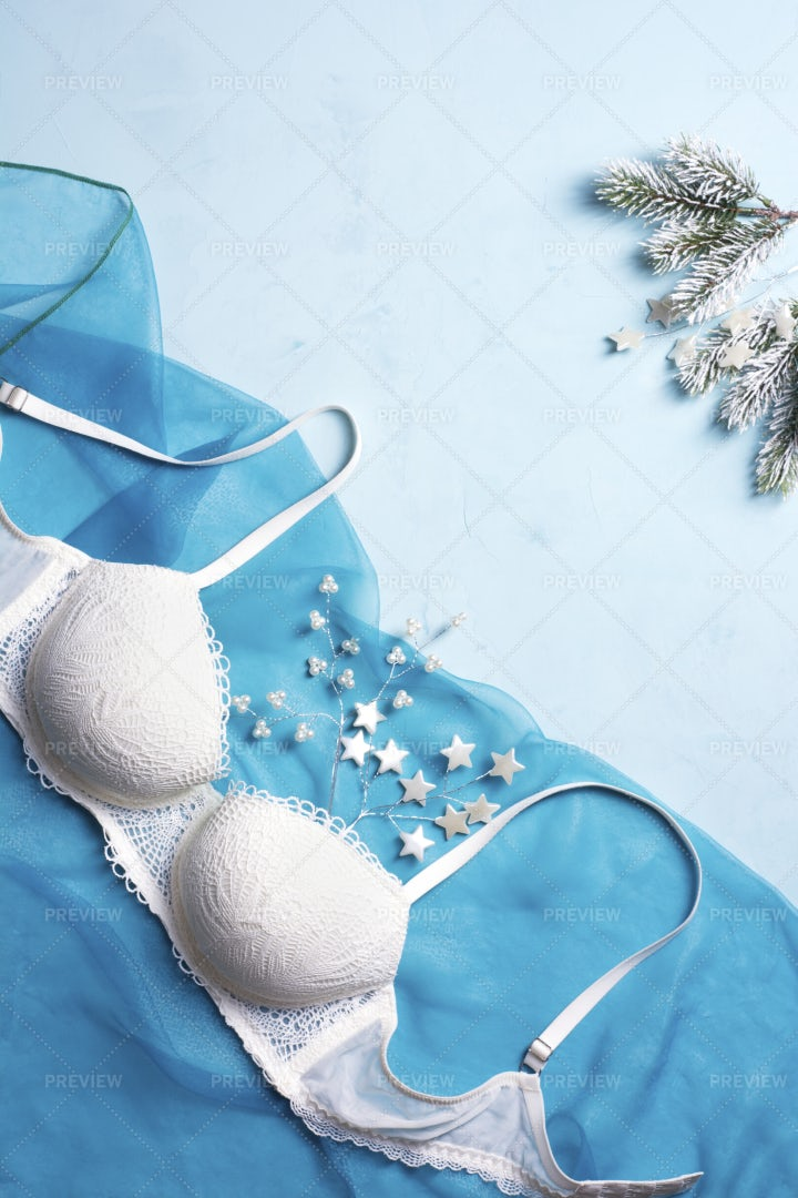A Beautiful Lacy White Bra: Stock Photos