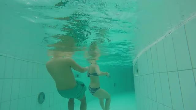 Underwater Swimming In Lazy River: Stock Video