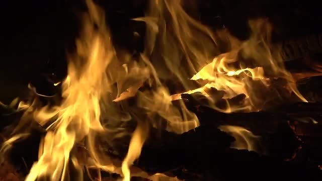 Fire With Huge Flames Dying: Stock Video