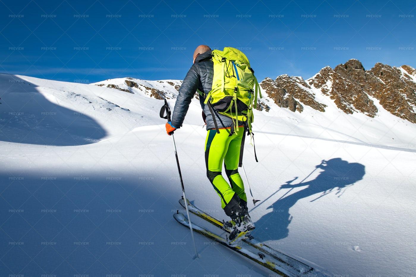 Climb With Skis: Stock Photos