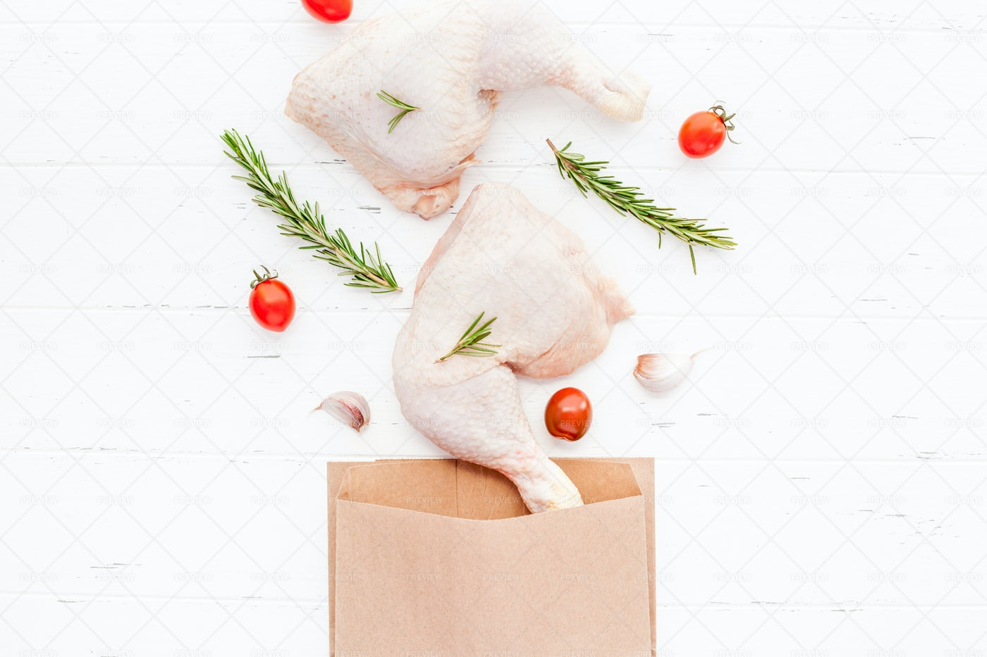 Raw Chicken Legs With Herbs: Stock Photos