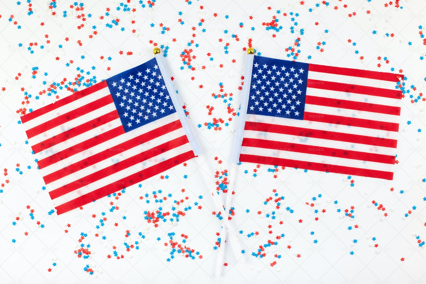 US Flags With Confetti: Stock Photos