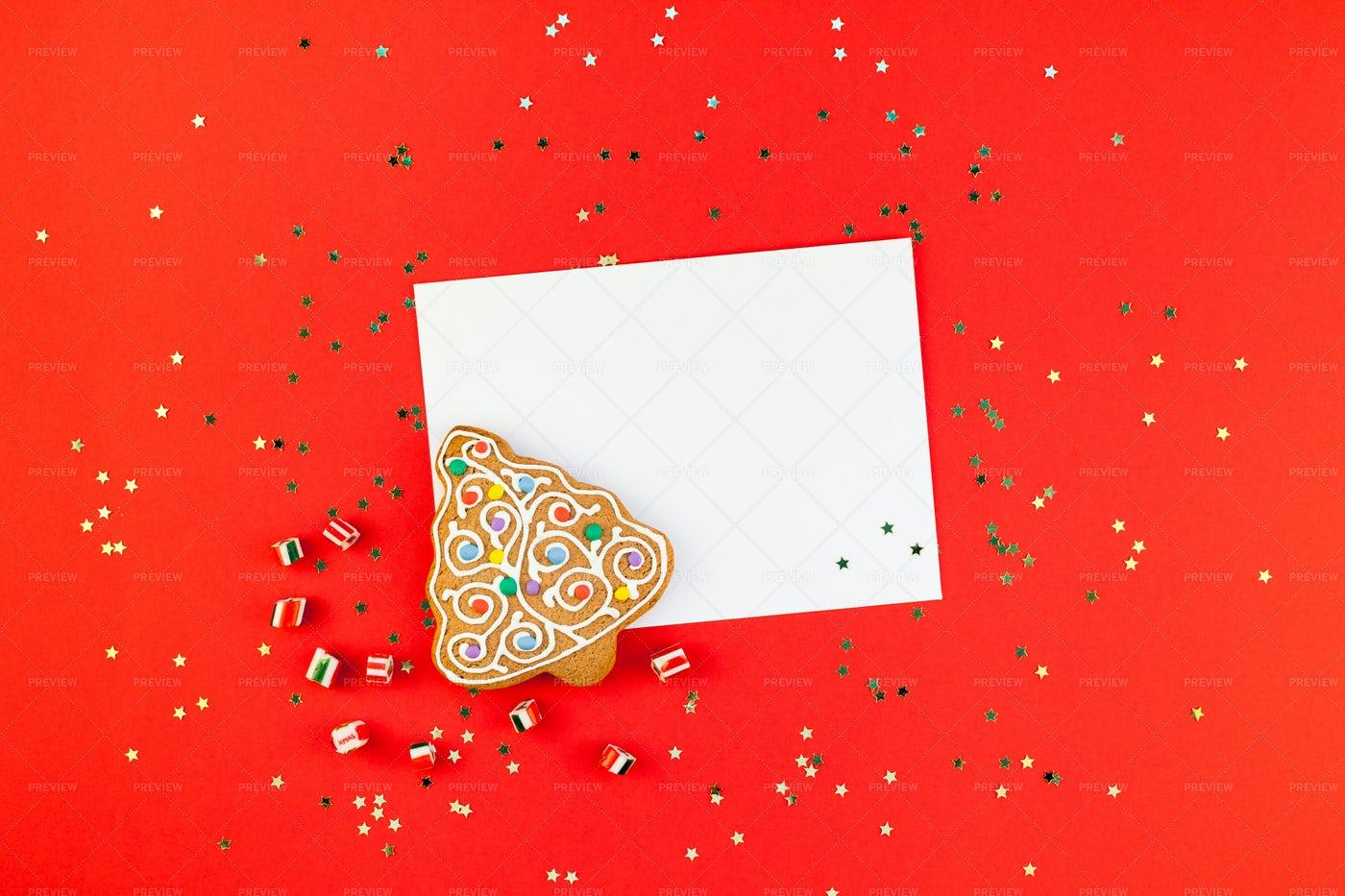 Christmas Greeting Postcard Mockup: Stock Photos