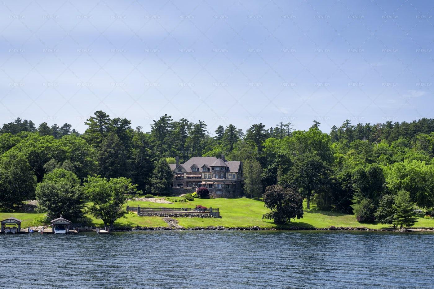 House At Lake George: Stock Photos