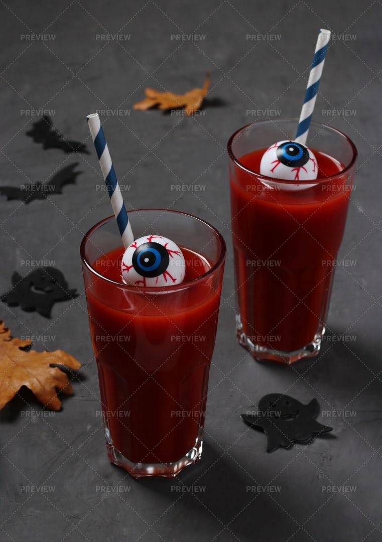Tomato Cocktail With Eyes: Stock Photos