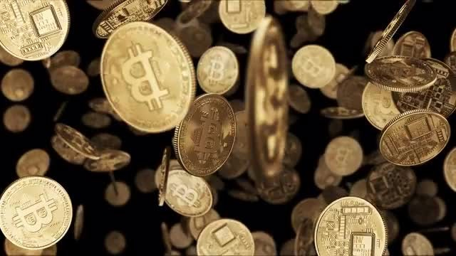 Falling Gold Bitcoin Coins: Stock Motion Graphics