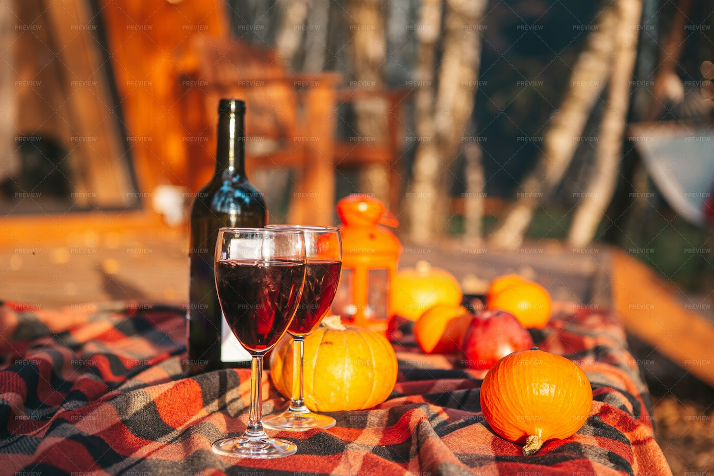 Pumpkins And  Red Wine: Stock Photos