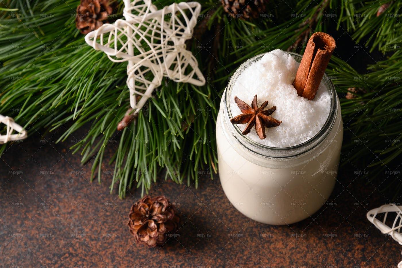 Christmas Eggnog With Cinnamon: Stock Photos