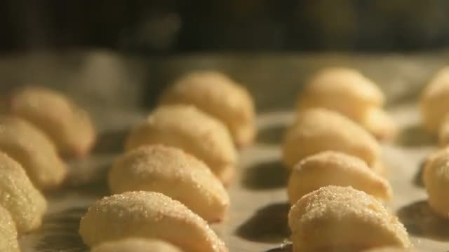 Sugary Biscuits Baking In Oven: Stock Video