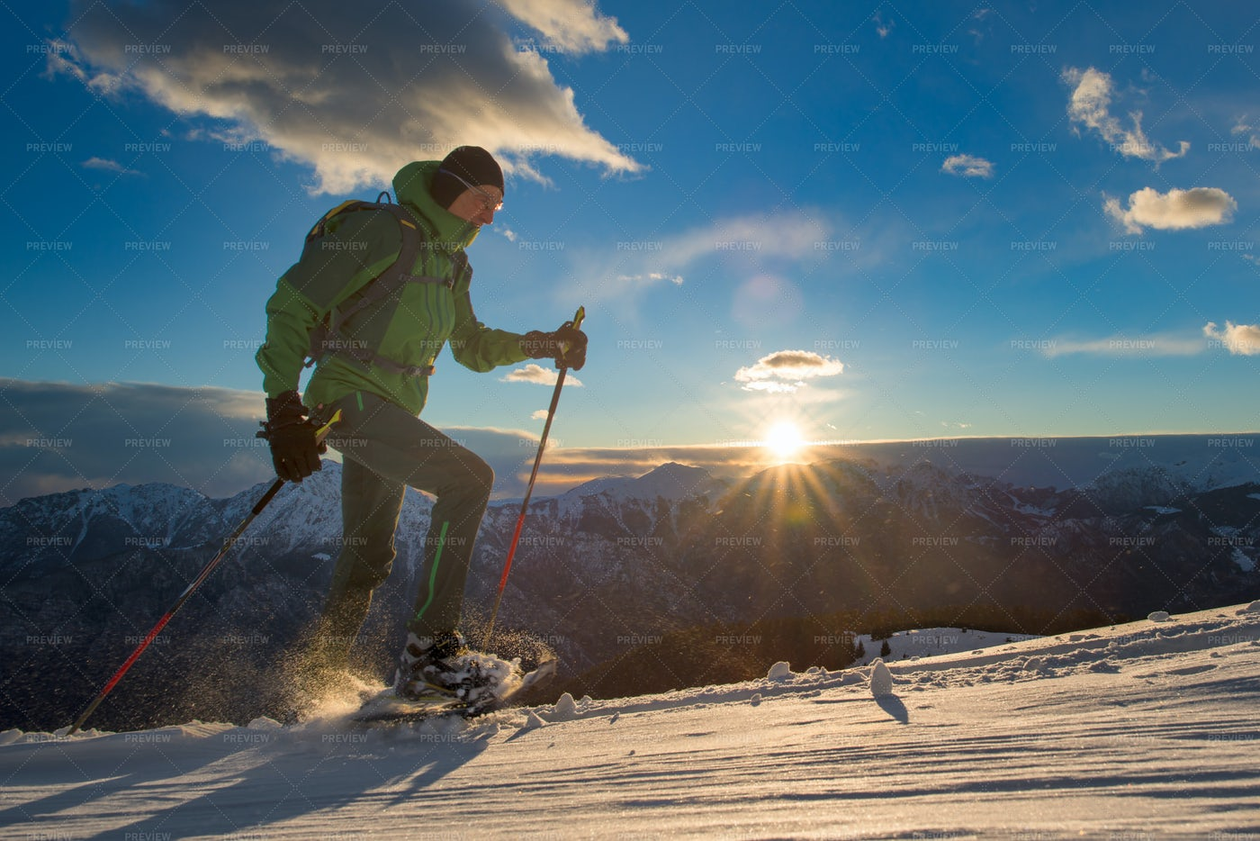 Man Practicing Snowshoeing: Stock Photos