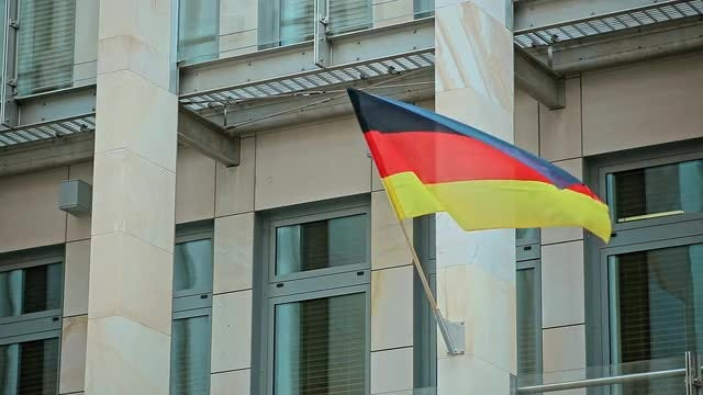 Germany Flag Waving From Building: Stock Video