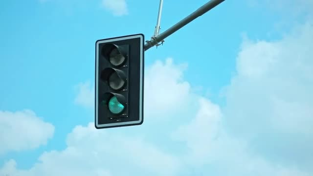 Traffic Light Against Beautiful Sky: Stock Video