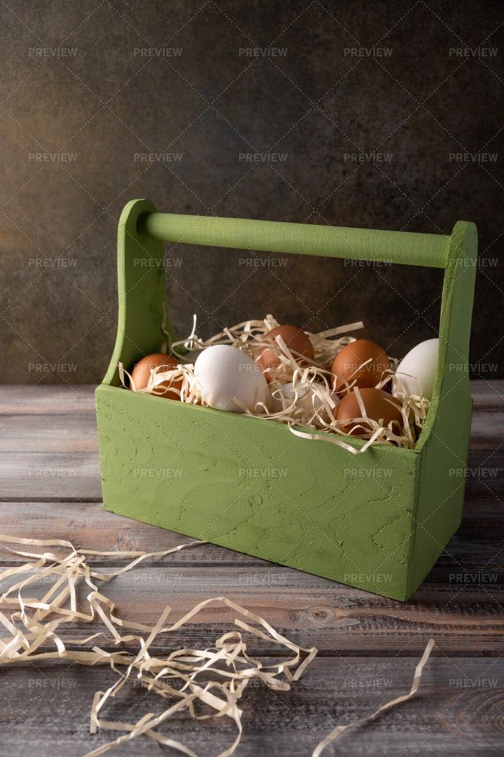 Chicken Eggs In Box: Stock Photos