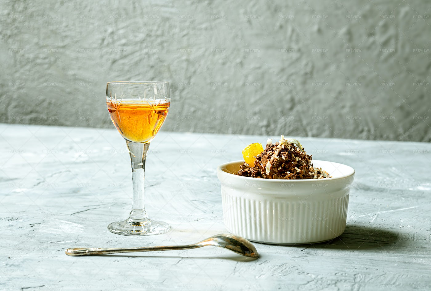 Tangerine Liqueur And Dessert: Stock Photos