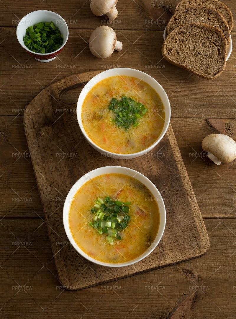 Bowls With Champignon Soup: Stock Photos