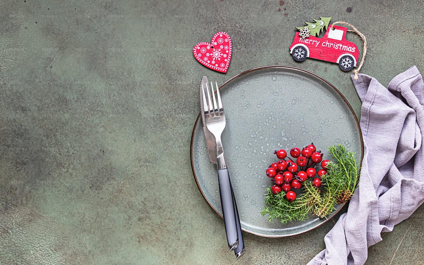 Christmas Table Set: Stock Photos