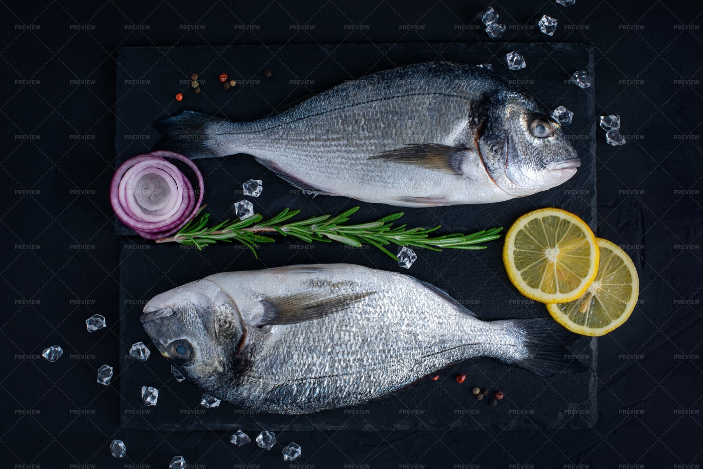 Raw Fish On Stone: Stock Photos