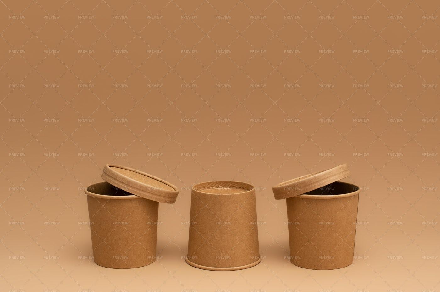 Brown Craft Soup Cups: Stock Photos