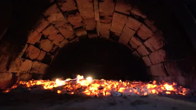 Lighted Up Brick Oven: Stock Video