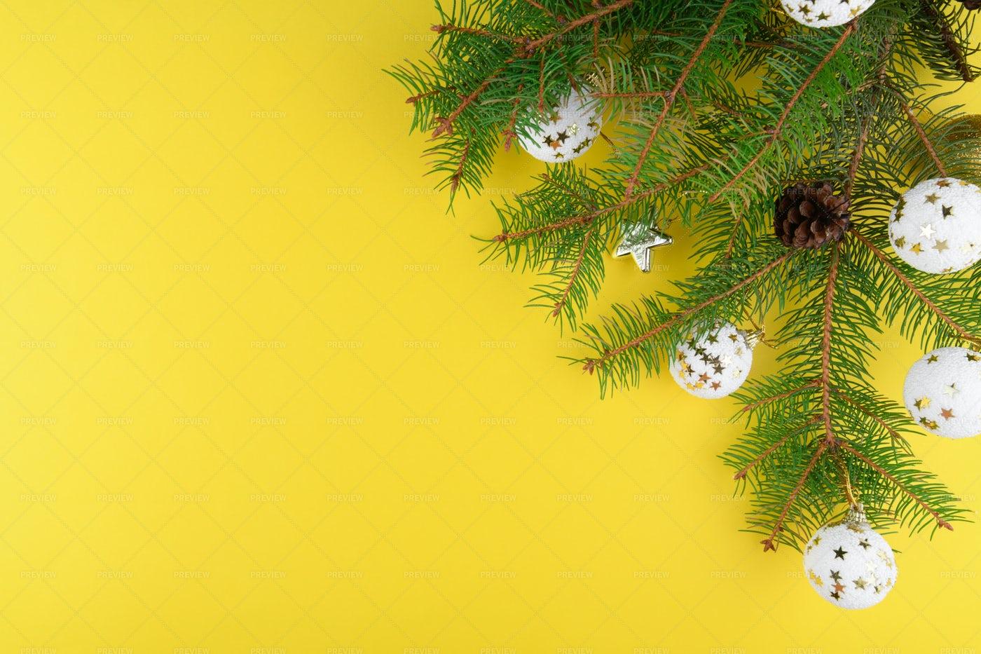 Christmas Yellow Background: Stock Photos