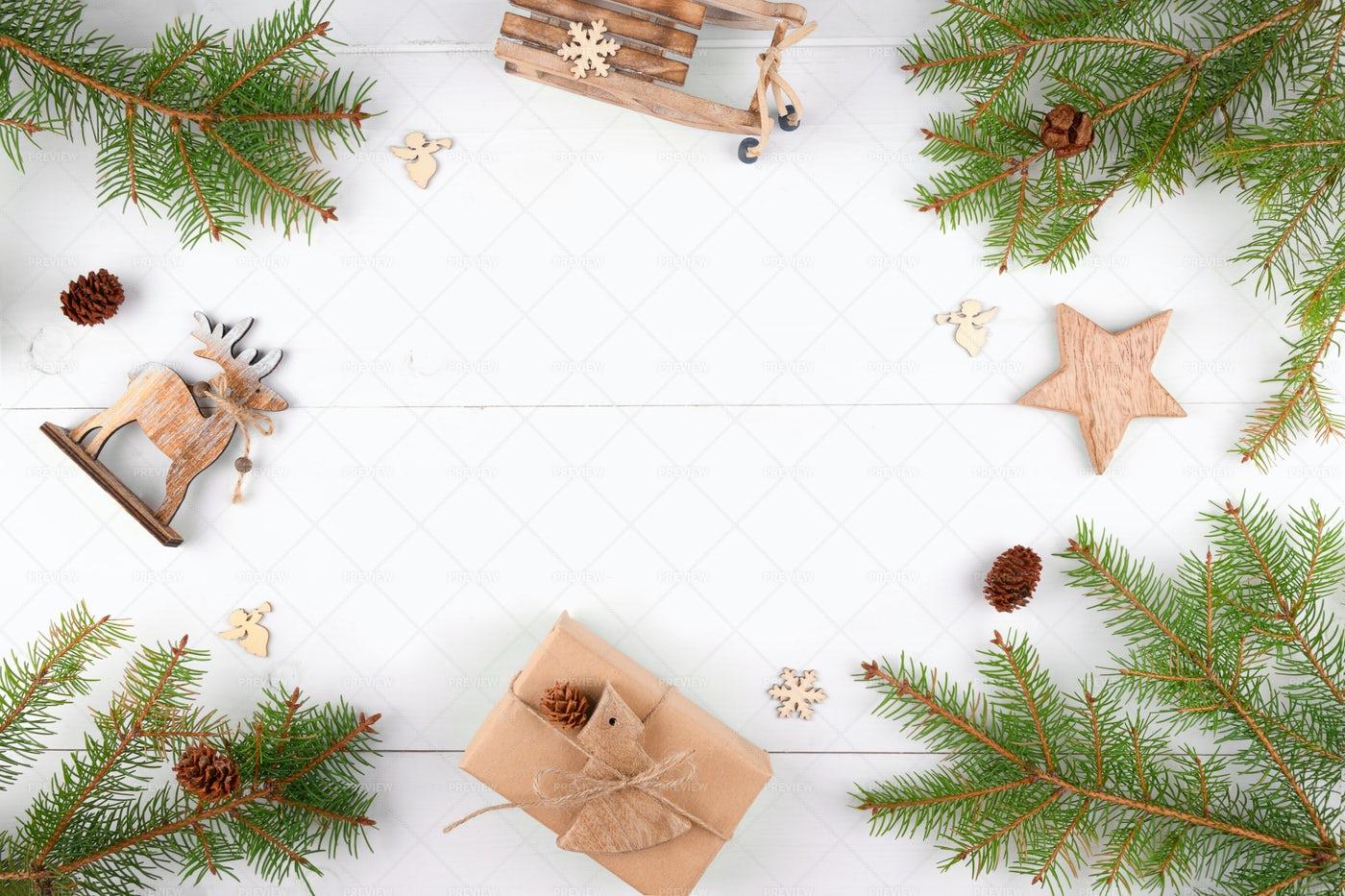 Christmas Frame Of Fir Twigs: Stock Photos