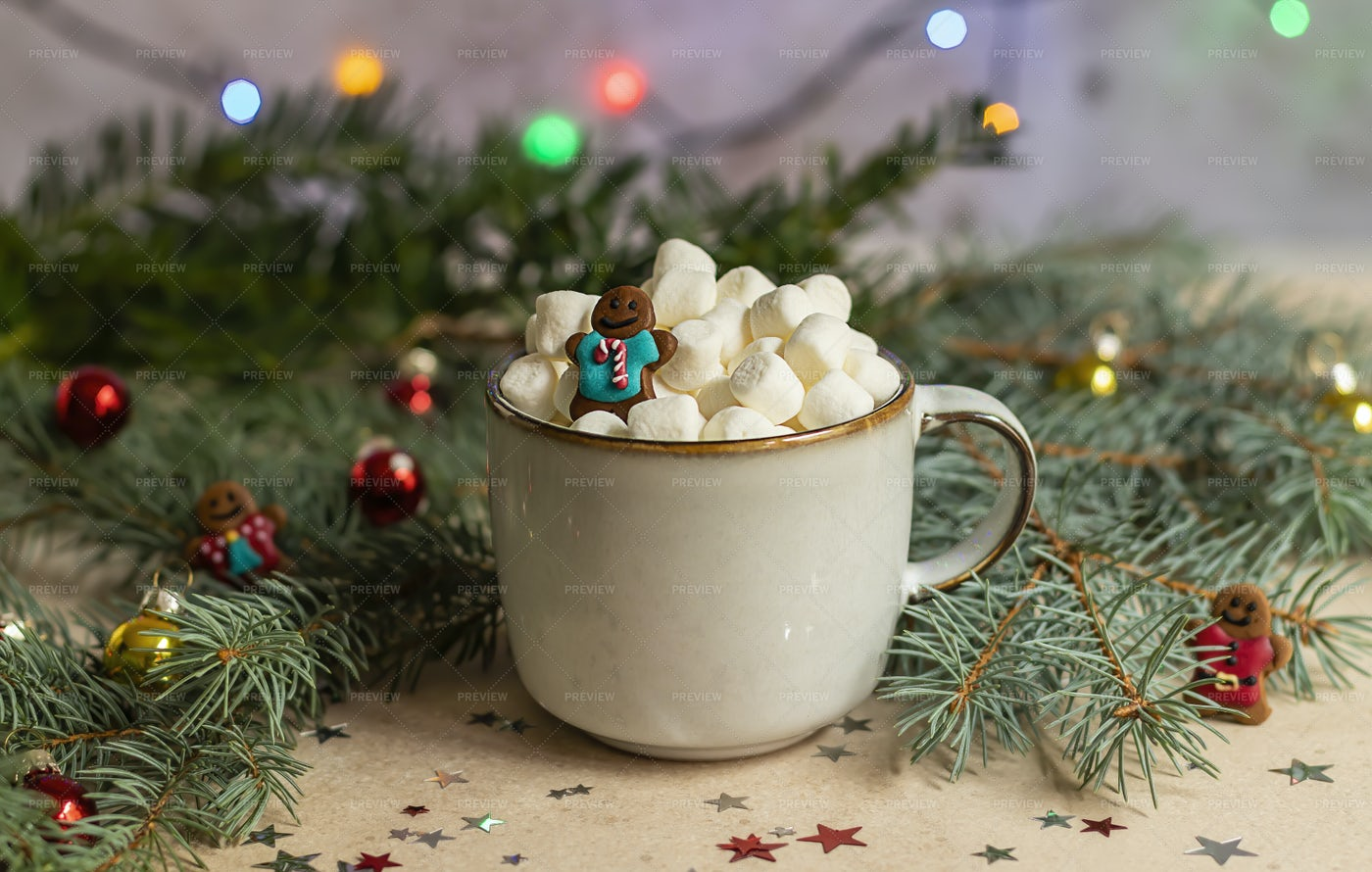 Hot Chocolate With Gingerman: Stock Photos