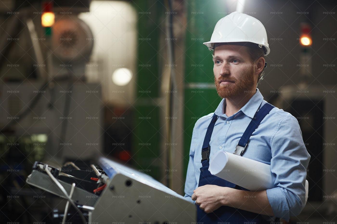 Foreman With Blueprint: Stock Photos