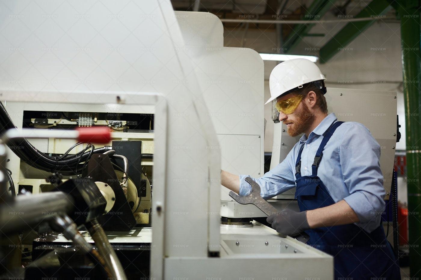 Repairing A Factory Lathe: Stock Photos