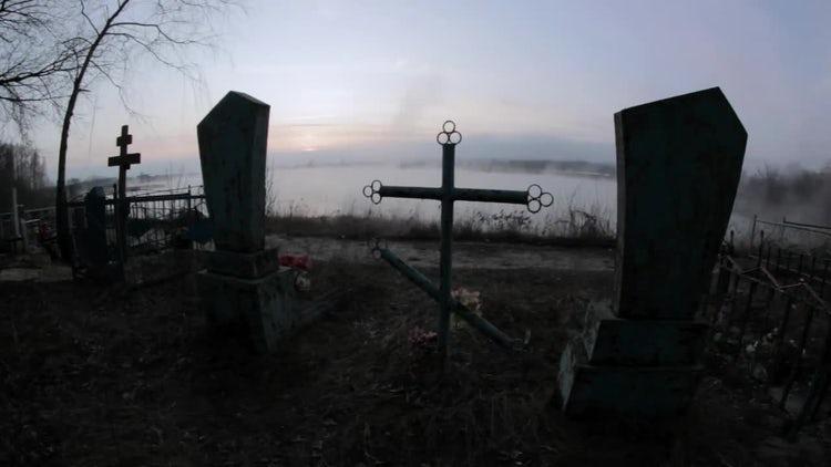 Creepy Cemetery In Fog: Stock Video