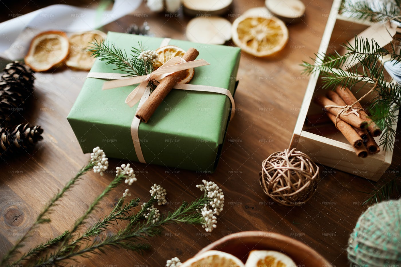 Christmas Present On The Table: Stock Photos