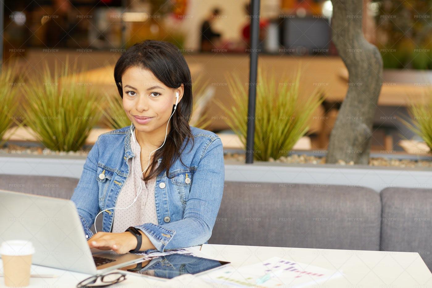 Woman Working On Laptop: Stock Photos