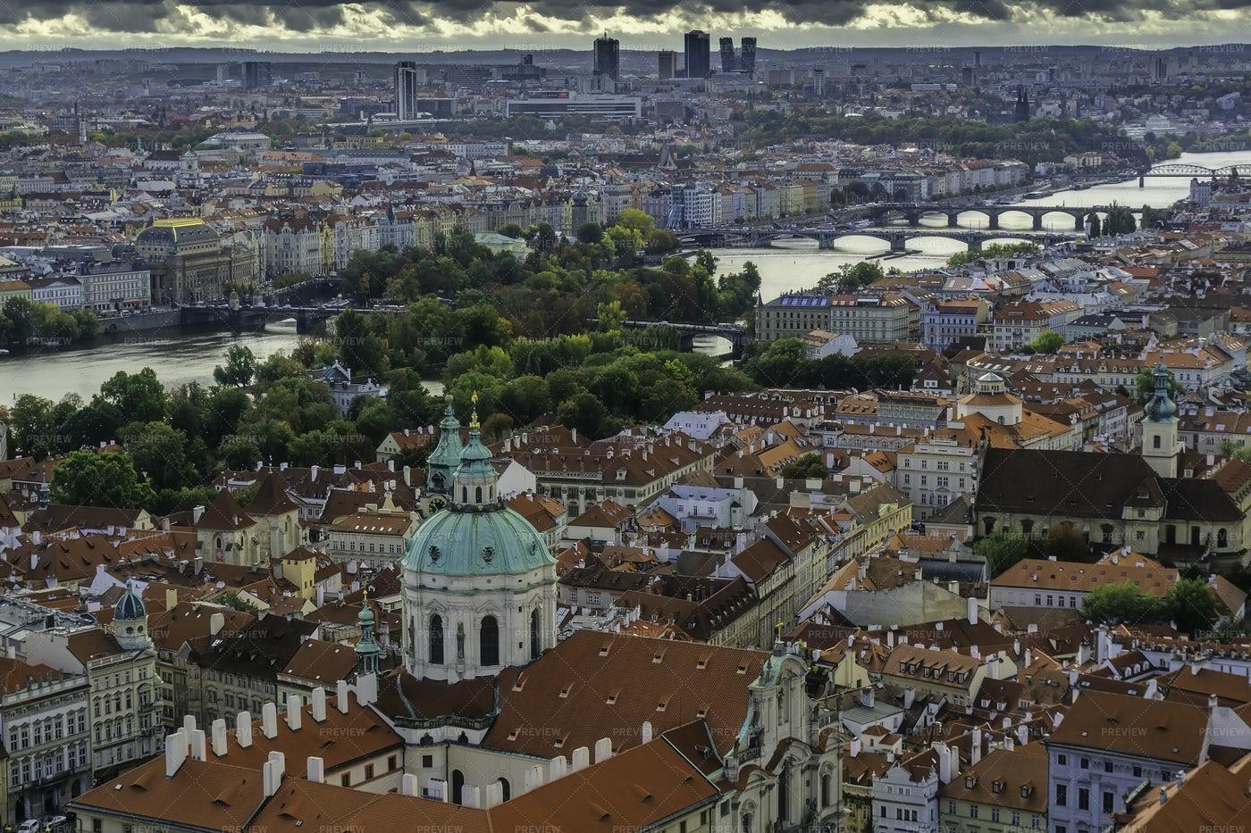 Aerial View Of Prague: Stock Photos