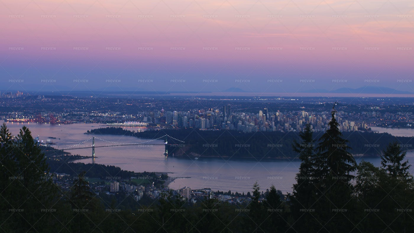 Vancouver At Dusk: Stock Photos