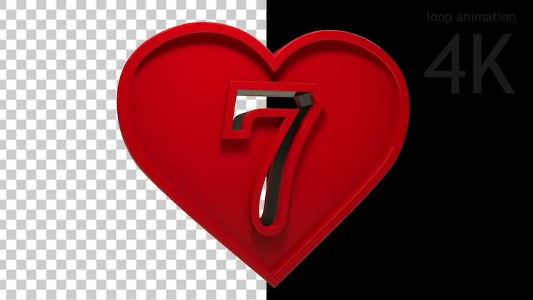 Heart Numbers Countdown: Stock Motion Graphics