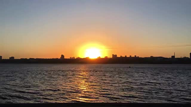 Sunset On City And River Time Lapse: Stock Video