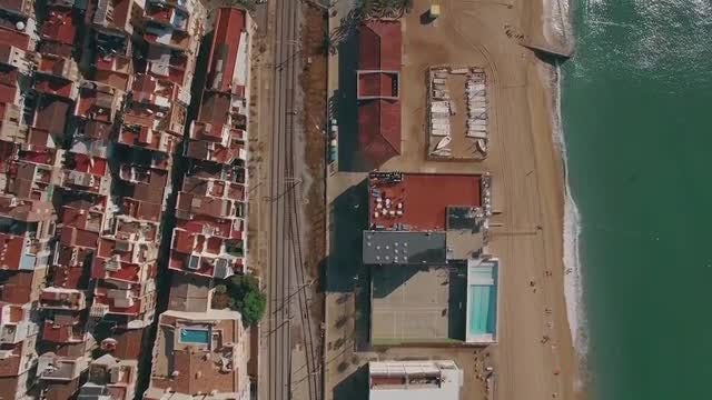 Coast In Barcelona - Aerial View: Stock Video