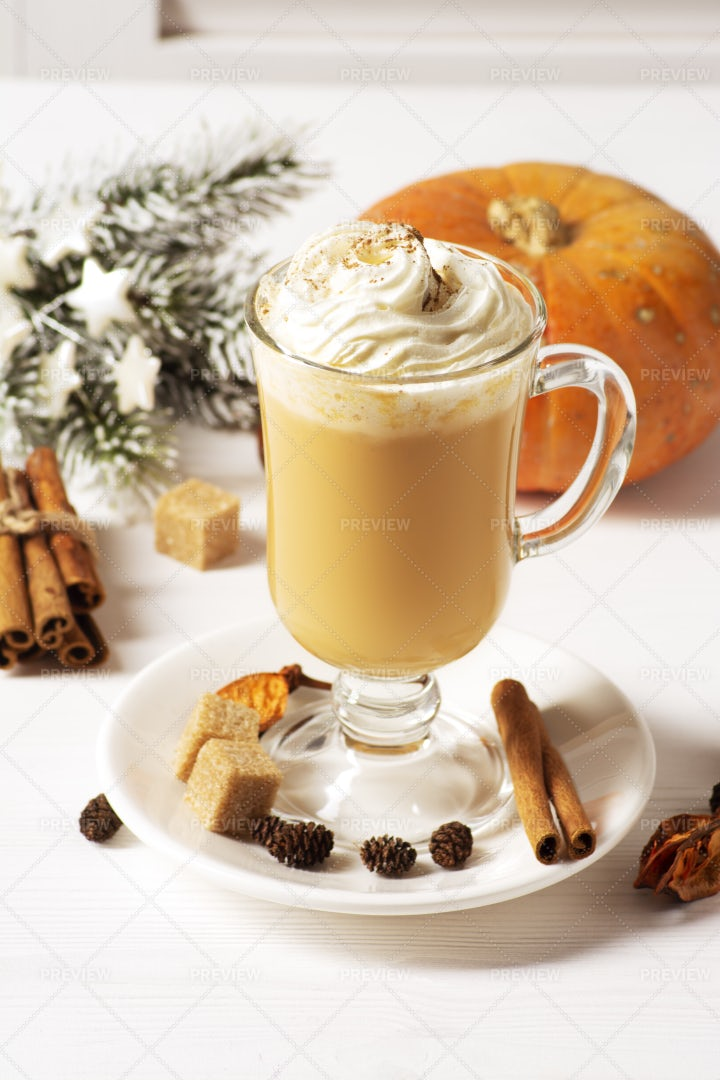 Pumpkin Latte With Whipped Cream: Stock Photos
