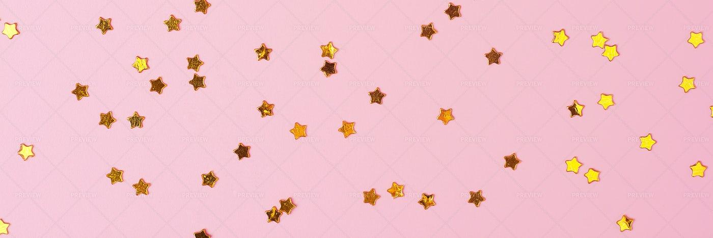 Golden Star Confetti: Stock Photos