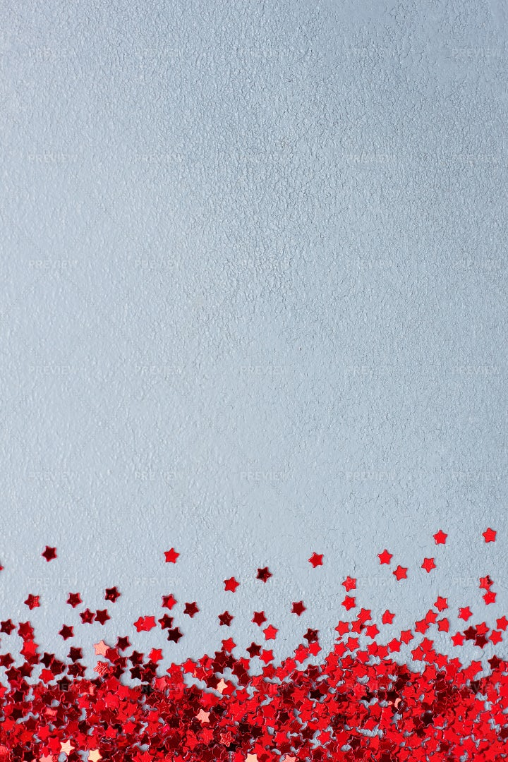 Red Confetti On Grey: Stock Photos
