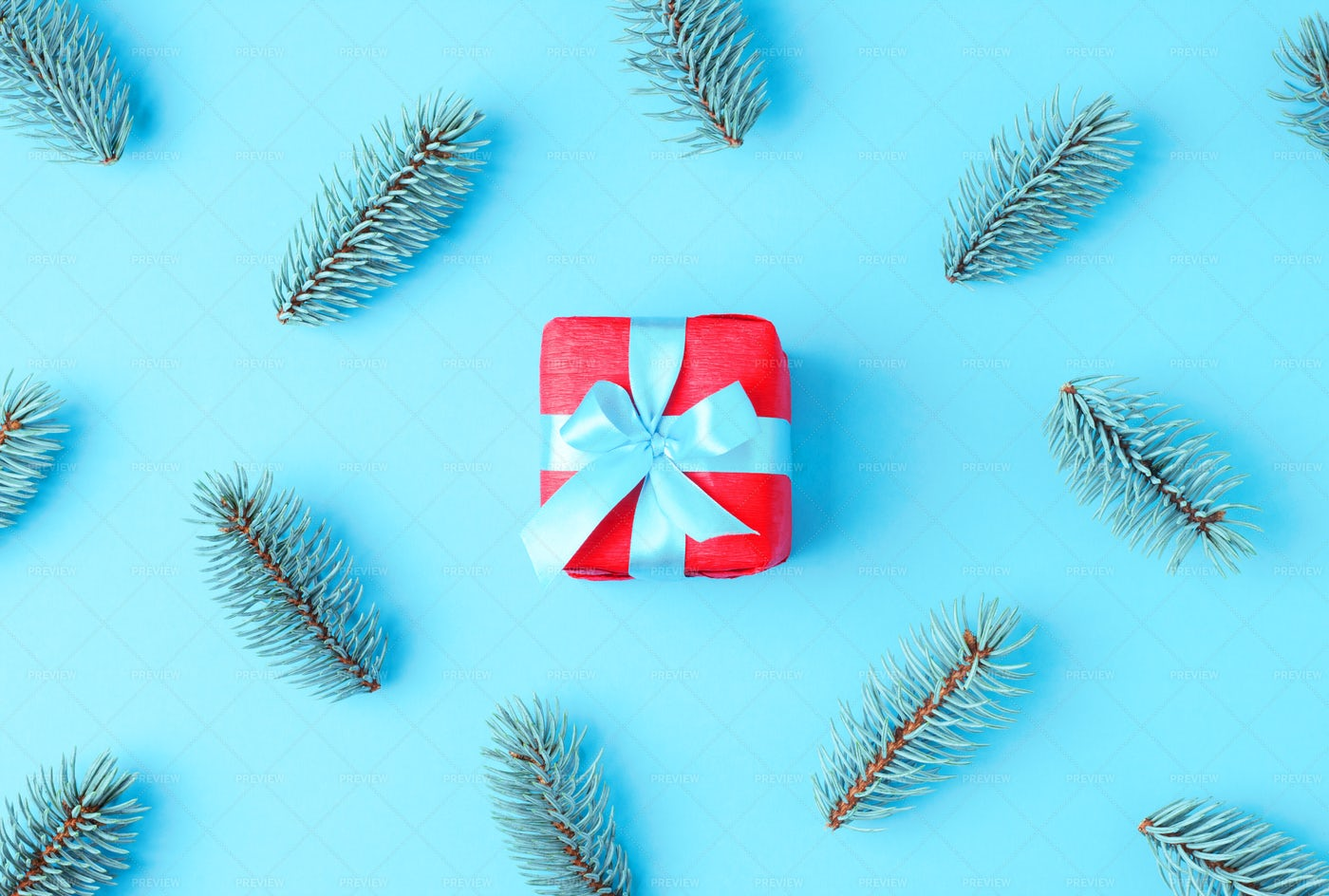 Red Gift On Blue: Stock Photos