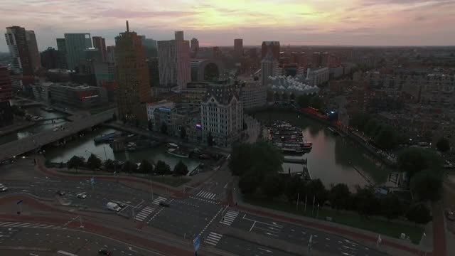 Aerial Shot Of Rotterdam City: Stock Video