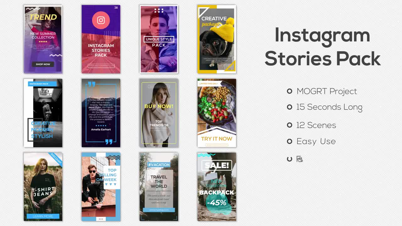 Instagram Stories Pack Motion Graphics Templates Motion