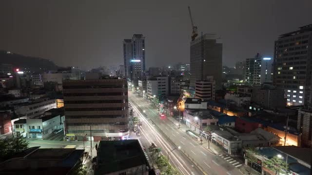 Night Traffic In Seoul: Stock Video