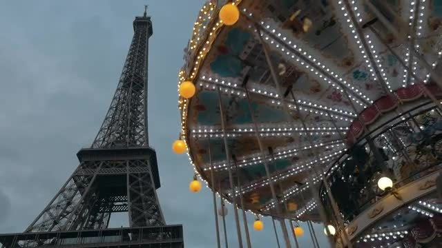 Eiffel Tower, Vintage Merry-Go-Round: Stock Video