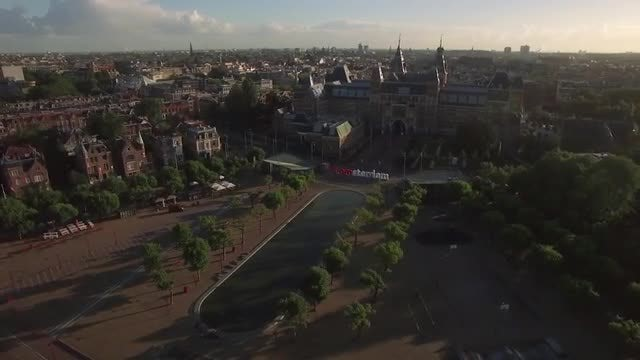 Amsterdam Aerial View, Including Rijksmuseum: Stock Video