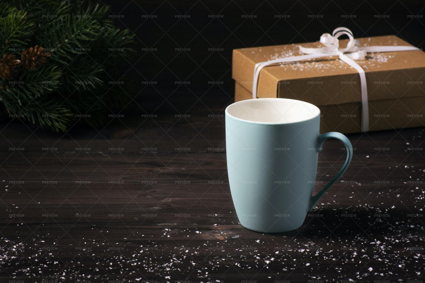 Blue Mug On Dark Wooden Background: Stock Photos
