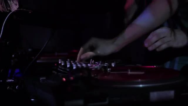 DJ Spinning Vinyl Records: Stock Video