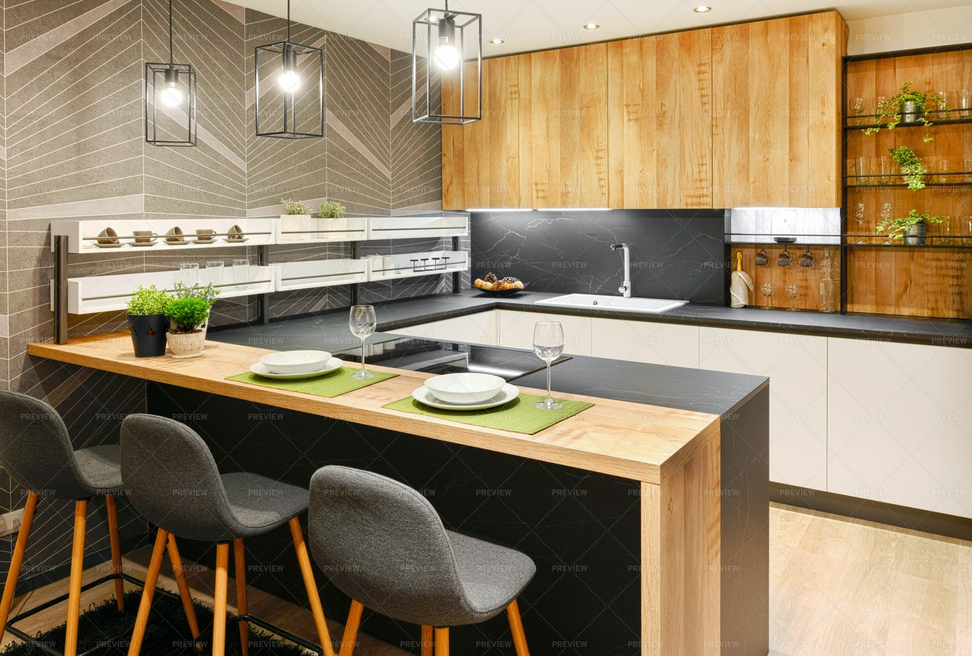 Modern Fitted Kitchen Interior: Stock Photos